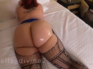Kelly divine tight skirt and pantyhose tease then rip off and oil massage!