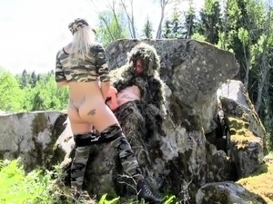 Hot Blonde In Uniform Fucked On Her Boobs