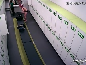 Amateur European teens changing clothes in the locker room