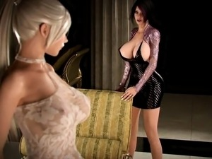 Curvy 3D beauties enjoying the pleasures of futanari fucking