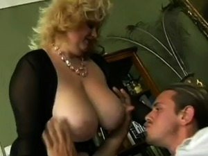 Curvy mature blonde with huge boobs loves it deep doggystyle