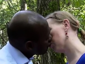 Horny mom fucked and facialized by a black bull in the woods