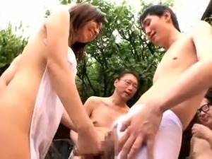 Luscious Japanese housewife enjoys a wild frenzy of cocks