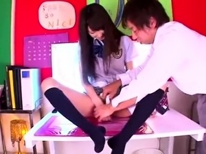 Naughty Asian schoolgirl learns a lesson in hardcore sex