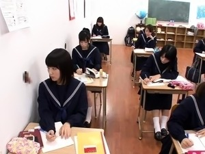 Horny Japanese schoolgirls sucking and fucking mystery cocks