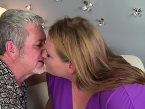 Amateur blonde BBW gets treated to a hard cock
