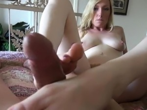 Stacked mom works her sexy feet and juicy cunt on a POV dick