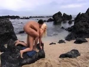 Blonde on a beach outdoor sex