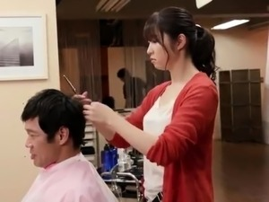 Sweet Japanese hairdresser having wild sex with a customer