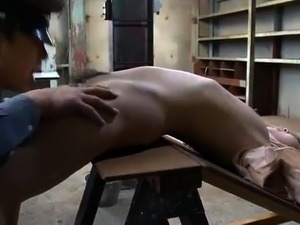 Restrained Asian female prisoner submits to a deep fucking
