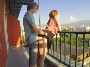 Sex On The Balcony. Fucked Redhead Teen In Tight Pussy