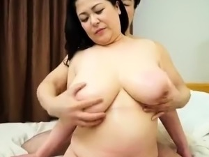 Voluptuous Japanese mom gets her hairy beaver fucked hard