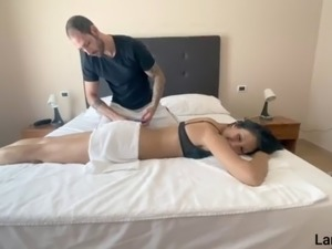 Young Italian brunette asks for a massage from her stepbrother and they...