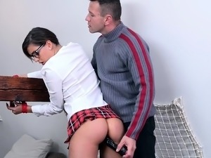 Nerdy brunette schoolgirl submits to a hardcore anal banging