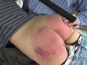 Woman outdoor spanking