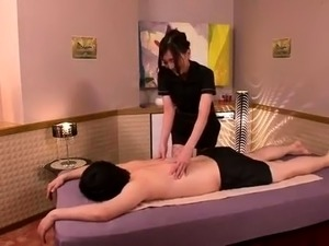 Sensuous Asian masseuse in stockings has a hunger for cock
