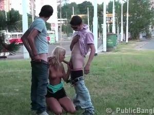 Cute blonde teen girl in PUBLIC street gangbang threesome sex