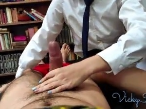 Vicky in school uniform pulls down panties and gets creampied cowgirl POV