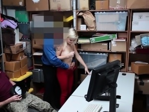 Small tits blonde thief fucked by an officer in front of bf