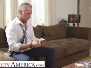 Naughty America - Silvia Saige cleans up a mess before fucking a married man