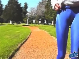 Round Ass Teen In Ultra Tight Shiny Spandex Showing Cameltoe In Public! free