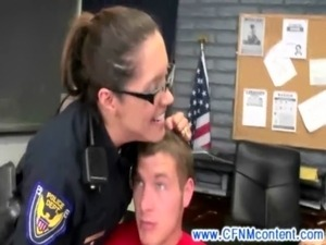 Horny CFNM mature police officers overpower arrestees free