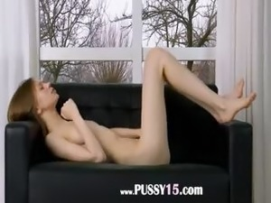 Ultra thin pussy opening on the couch