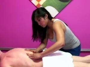 Asian masseuse in handjob threeway riding face