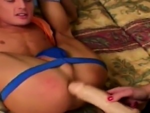 Guy really loves a nasty femdom strapon fucking