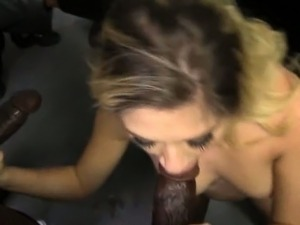 Pretty white girl Lia Lor bukkake facial by huge black dicks