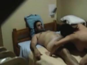 Hot latina milf sucks and fucks in a threesome on hidden cam