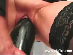 Frustrated amateur housewife fucks gigantic black dildo to satisfy her...