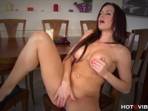 The buxom and busty, sultry voiced MILF, Stacy Silver, indulges her horny...
