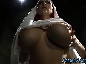 Big tits slutty nun scolds sinner