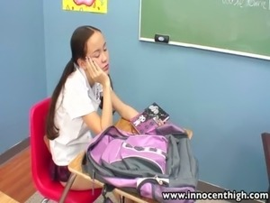 InnocentHigh Teacher banging skinny Asian teens tight pussy free