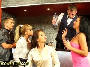 Fetish orgy with sluts pissings on each other in hd