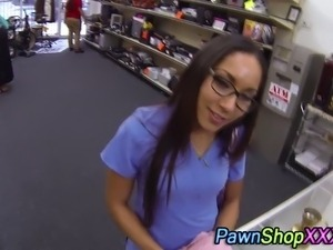 Real amateur nurse sells her moist panties in pawn shop for cash