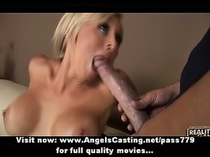 Sexy amateur blonde does blowjob and rides monster cock in threesome