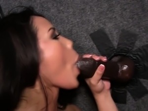 Asian swallows black cocks cum