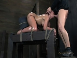Kellys Big Ass Tied to a Sybian and Her Mouth Used as a Fuckhole - SD free