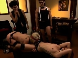 Two kinky big titted women foursome play in reality show