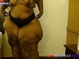 black bbbw with huge ass changing clothes and ass smacked