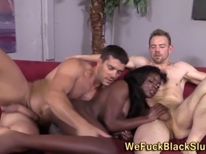 Dirty ebony slut fucked and facialized during threesome in hd