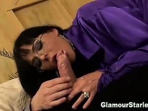 Clothed euro slut gets facial