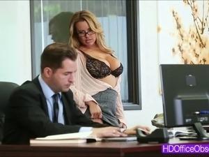 Horny blonde secretary rides a bigcock
