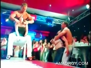 Handsome stripper gets cock sucked at CFNM orgy