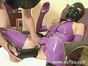 Submissive slave slut brutally fucked in her loose cunt with a huge...