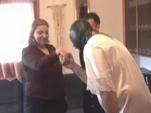 Chubby Spanish woman gangbanged