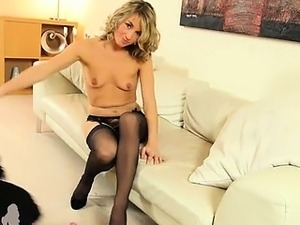 blond whore on my leather soufa in heel