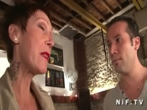 Big titted and tattooed french mature gets her tight ass hammered free